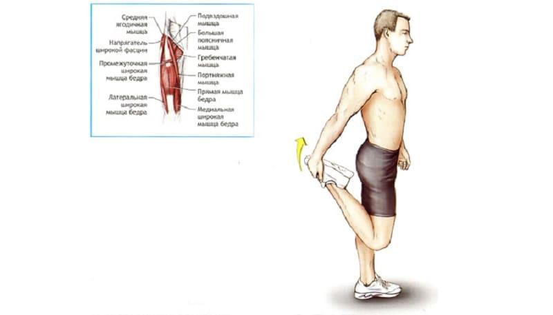 Растяжка передней поверхности бедра в положении стоя на одной ноге
